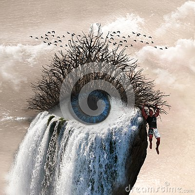 3D Illustration of surrealism showing a man holding on a branch attached to an eye