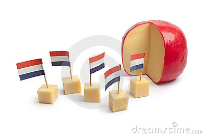 Edam cheese blocks with the Dutch flag