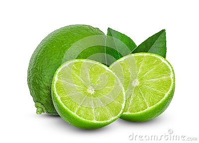 Fresh lime and lemon with green leaf isolated on a white background