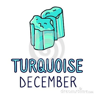 Birth Stone for December Clip Art. Turquoise Crystal Mystic Order Precious Rock for Birthday date. Blue Treasure.Illustration