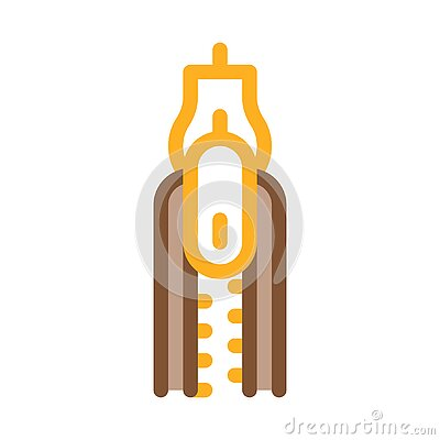 Zipper Fly Icon Vector Outline Illustration