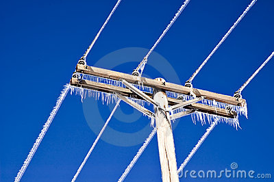 Icicles on Telephone Wires and Pole