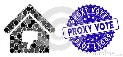 Collage Thumb Down Building Icon with Textured Proxy Vote Seal