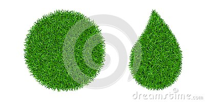 Green grass 3D set. Green round ball, drop isolated white background. Eco globe sphere, nature circle planet. Clean