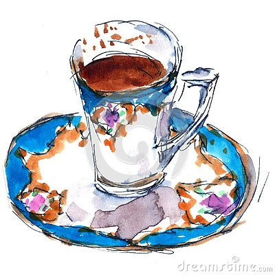 Exquisite coffee cup and saucer with baroque ornament - hand-drawn watercolor and black liner illustration