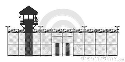 Prison fence on white background. Black silhouette of jail exterior with steel grid. Isolated gate. Industrial scene