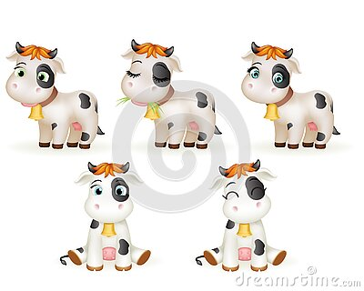 Baby little cow 3d cute calf toy cub cartoon character icons set design vector illustration