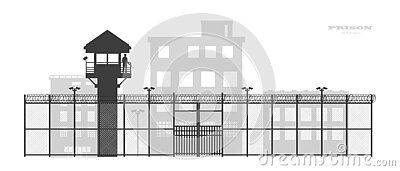 Prison fence with building. Black silhouette of jail exterior with steel grid. Isolated gate. Industrial scene