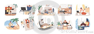 Freelance people work in comfortable conditions set vector flat illustration. Freelancer character working from home or