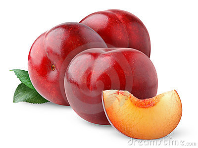 Isolated red plums
