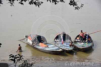 Row Boats of Babu Ghat At Kolkata