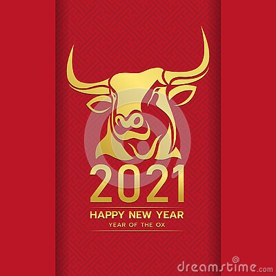 Happy chinese new year 2021 with gold head ox zodiac sign on red chinese culture texture background vector design