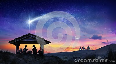 Nativity Of Jesus Scene With The Holy Family