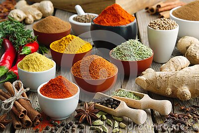 Various aromatic colorful spices and herbs. Ingredients for cooking, Ayurveda treatments