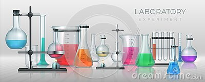 Realistic laboratory. Chemistry lab equipment, 3D flask tubes beaker and other measuring glassware. Vector chemical or
