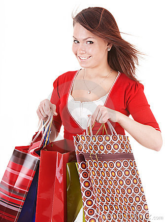 Girl holding group shopping bag.
