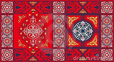 Egyptian Tent Fabric Pattern 2-Red