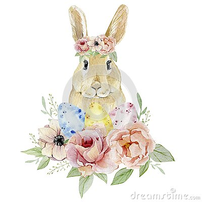 Watercolor Happy Easter egg nd funny bunny with botanical flowers clipart. Vintage Easter illustration for greating card, banner,