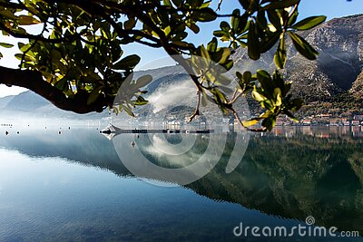 Montenegro, Kotor Bay, reflection of the city in the sea