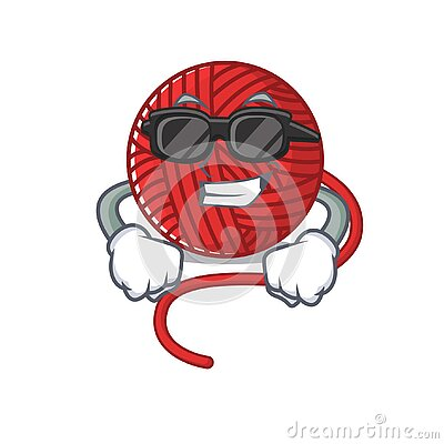 Super cool red wool yarn character wearing black glasses