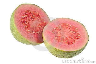 Two halves pink guava