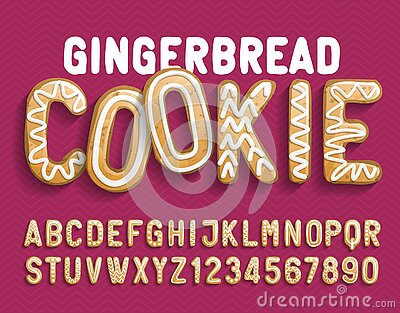 Christmas Gingerbread Cookie alphabet font. Cartoon letters and numbers with shadow.