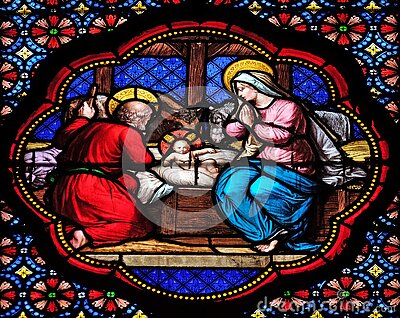 Nativity Scene, stained glass window in the Basilica of Saint Clotilde in Paris