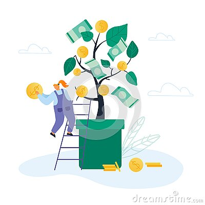 Businesswoman Stand on Ladder lean to Huge Potted Money Tree with Dollars Hanging on Branches Holding Golden Coin
