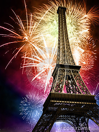 stock image of eiffel with fireworks
