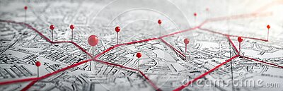 Routes with red pins on a city map.
