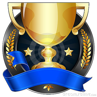 Achievement Award Trophy in Gold with Blue Ribbon