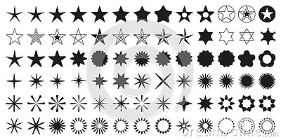Stars set of 78 black icons. Rating Star icon. Star vector collection.