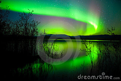 Northern lights mirrored on lake