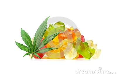 Medical Marijuana Edibles Gummy Bears Candies on White Background