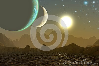 Alien landscape, Planetary system with two moons, mountains and Sea with sun, 3d illustration