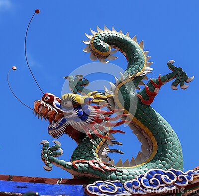 Colored dragon on a temple in Georgetown city Penang Malaysia