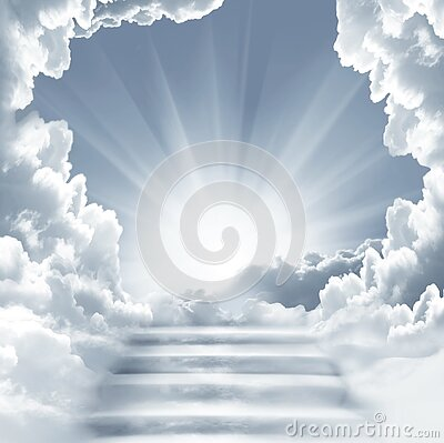 Stairway to Heaven.Stairs in sky.  Concept with sun and white clouds. Religion  background