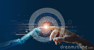 AI, Machine learning, Hands of robot and human touching on big data network connection background, Science and artificial