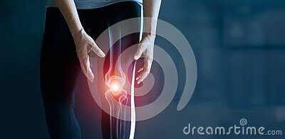 Woman suffering from pain in knee, Injury from workout and osteoarthritis, Tendon problems and Joint inflammation on dark