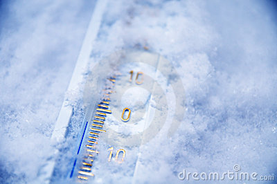 Below zero on thermometer