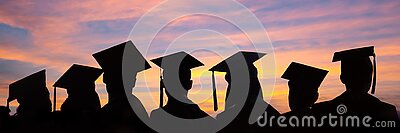 Silhouettes of students with graduate caps in a row on sunset background. Graduation ceremony web banner