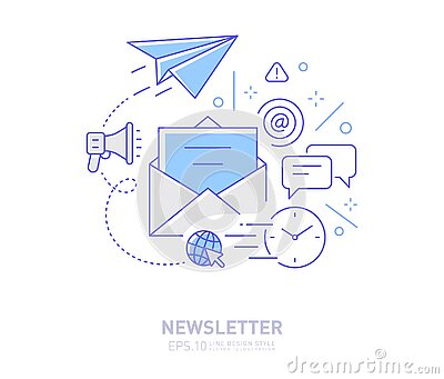 Newsletter - Email marketing concept line design style icon.