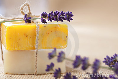 Handmade soap bars with lavender flowers