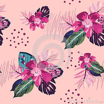 Seamless Hibiscus Tropic flower pattern. Hawaiian floral print. Digital paper with palm leaves, Monstera, jungle blossom flowers