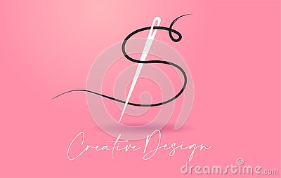 S Letter Logo with Needle and Thread Creative Design Concept Vector