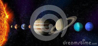 Sun and the planets of the Solar system