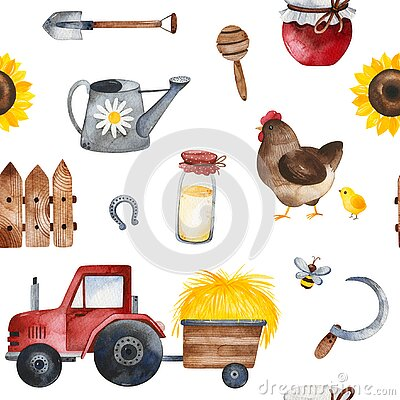 Farmer texture with food,sunflowers,chicken,fence,tractor,bee, shovel