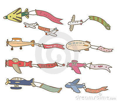 Coloriage Avion Banderole.Cartoon Airplane Banner