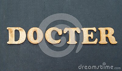 The word Docter on a black background.