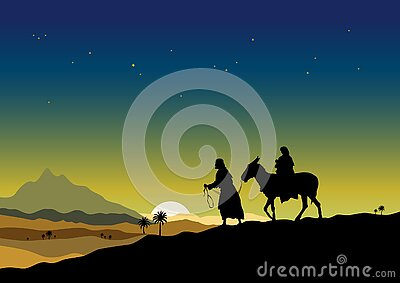 Joseph and Mary travelling to Egypt with child Jesus